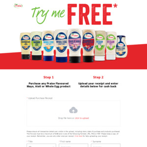 Claim a 100% Cashback (up to $5) on Praise Flavoured Mayo, Aioli or Whole Egg Products (First 16,824 Claims) @ Praise