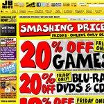 20% off Games, Blu-Rays, DVDs & CDs at JB Hi-Fi on Good Friday (ONLINE-ONLY DEALS)
