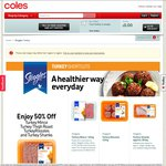 All Steggles Turkey Shortcuts 50% off from Coles Online