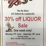 The Re Store Leederville (WA) 30% off Alcohol for 1 week (until 18th June)