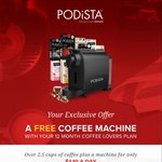 PODiSTA - Free Coffee Machine (Worth $199) if You Subscribe to Quarterly Pod Subscription at $99 Per Quarter