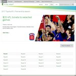 2017 AFL Tickets to Selected Matches $20 (+BF) @ Ticketek VIA Telstra Thanks (Telstra Members)