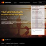 Free Airport Lounge Passes or $36 off Meals PP for You & 1-3 Guests Per Card for Delayed Flights [Eligible Mastercard Holders]