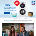 Win a Haier TwinTasker Washer Worth $1,199 or 1 of 3 $50 Gift Cards from The Good Guys