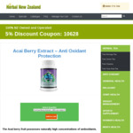 Acai Berry Extract - $65 NZD / $59.67 AUD for 3 Bottles plus 5% Discount Coupon from Herbal New Zealand