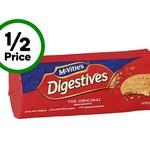 ½ Price McVities Digestive & Hobnobs Biscuit Varieties $1.85 @ Woolworths