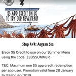 [ACT, NSW, VIC, QLD, WA] $5 off in App @ Zeus Street Greek