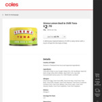 ½ Price Sirena Tuna Varieties 95g $1.35 @ Coles