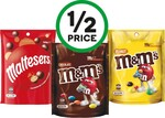 ½ Price M&Ms or Maltesers 120-180g $2.12, Smith's Chips or Poppables 90-170g $1.75, Bulla Ice Cream 2L $4.25 @ Woolworths