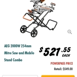 AEG 2000 Watt Compound Mitre Saw and Stand $549 or $521 with Power Pass @ Bunnings