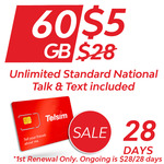 Telsim 28 Day Mobile Plan - 60GB - $5 Delivered @ Telsim