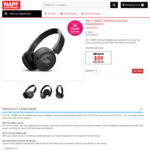 JBL T450BT Wireless on Ear Headphones Black $39 Delivered @ NAPF Electronics