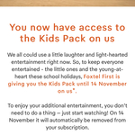 Free Kids Pack Access for Existing Subscribers (Was $5/Month) @ Foxtel