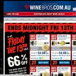 Winebros - Friday 13th 24 Hour Sale, 66% off 6 Wine Varieties from $48.96 Per Dozen