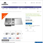 Mossini Undermount Double Bowl Sink with Drainboard 980mm. RRP $599. Only $399 Free Shipping