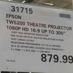 Epson TW 5200 Projector 1080p 3D $879.99 at Costco Docklands (VIC) Membership Required