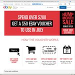 $50 eBay Voucher to Use in July with $200 Purchase Sitewide Today (Domestic Purchase Only?)