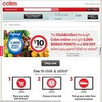 3000 Points (=$15) + $10 off C&C $100+ on 1st Shop @ Coles + $15 Cashback from CashRewards