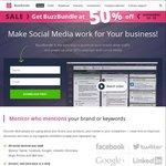 BuzzBundle SMM (Social Media Mngt) Tool 50% off Now US $99 (~AU $138) for Pro & US $199 (~AU $276) for Enterprise