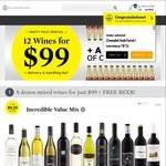 12 Bottles of Wine with FREE Carton of Crown Larger $99 PLUS Delivery OR $89 Del with Code - Cellarmasters