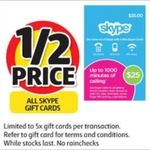 All Skype Gift Cards ½ Price @ Coles