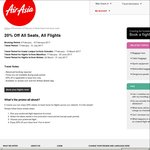 20% off Flights across AirAsia Network (Expires 12/2)