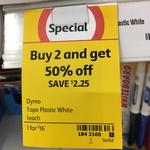 Dymo Letra White Plastic or Iron on 2 for $16 @ Coles