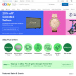 20% off 4 Selected Tech Stores, 20% off 10 Selected Home Sellers, 20% off Selected Products @ eBay