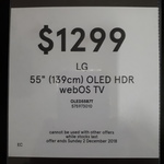 """LG OLED55B7T 55"""" OLED UHD Smart TV $1299 @ Myer (In-Store Only)"""