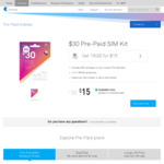 $30 Telstra Prepaid SIM Starter Kit for $15 @ Telstra Online