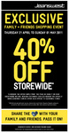 Jeanswest  - 40% off Family + Friends Thurs 21 April to Sun 1st May
