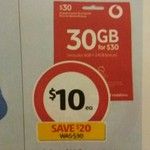Vodafone $30 Starter Pack for $10 @ Coles