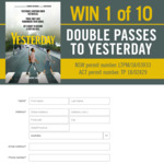 Win 1 of 10 Double Passes to Yesterday Worth $40 from Seven Network