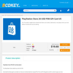 [PS4] PlayStation Store 20 USD PSN Gift Card US$17.18 - A$26.31 (US Account Required) @ Bcdkey
