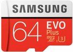 Samsung EVO Plus 64GB Micro SDXC 100MB/s W60MB Class 10 with Adapter $14 Delivered @ AZ eShop via Amazon AU