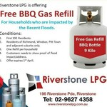 [NSW] Free 9kg BBQ Gas Refill for Households Who Are Impacted by Floods (Select Suburbs) @ Riverstone LPG