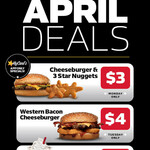 [QLD, NSW, SA, VIC] Daily April Deals $3-$5: Every Monday to Wednesday in April via MyCarl's App @ Carl's Jr