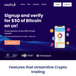 Free $50 Worth of Bitcoin (BTC) for Signup & Verify @ Swyftx