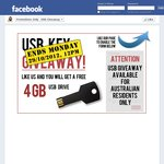 FREE 4GB USB until 6pm AEDT Tonight (Facebook Required)