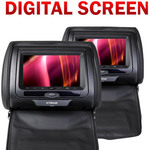 "2 X7"" HD HEADREST DVD PLAYERS + 2 IR Headphones + 2 Cigarette Lighter Power Leads - $199"