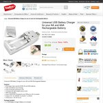 Universal USB Battery Charger for AA and AAA Rechargeable Batteries for $3.99 Delivered @ TopBuy