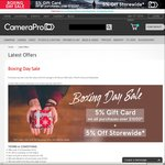 CameraPro: Boxing Day Sale with 5% off Store Wide and Further 5% off on Gift Cards*