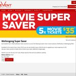 Movie Tickets x5 for $35 at Greater Union Wollongong/Shellharbour NSW