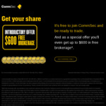 CommSec New Clients - First 10 Equity Trades Will Be Free, up to a Total Brokerage Value of $600