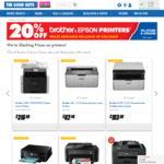 20% off All Epson and Brother Printers @ The Good Guys