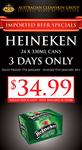 Heineken 24x 330ml Cans $34.99 (ACG - Melb)