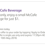 $1 Small McCafe Beverage via McDonald's mymacca's App (1 Day Only)