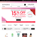 15% off Make-up and Make-up Accessories + Upsized 10% Shopback Cashback (New Customers) Free Shipping With $55 @ Sephora