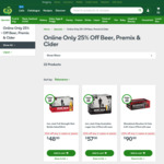 25% off Purchases of Any 2 Cases/Packs of Beer, Premixes & Cider @ Woolworths Online