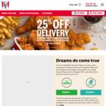 25% off Your Order with $30 Minimum Spend at KFC via Menulog